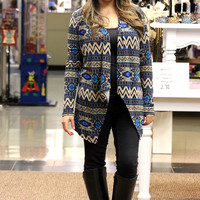 Geo Pattern Cardigan in Blue/Tan