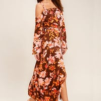 Somedays Lovin' She's a Wildflower Burgundy Print Maxi Dress