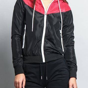 Women's Color Block Hooded Windbreaker Jacket