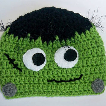 Crochet Baby Frankenstein Halloween Hat Photo Prop in Sizes Preemie - 6 Months