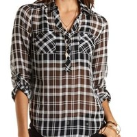 Plaid Chiffon Pullover with Pockets by Charlotte Russe - Black Combo