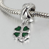 """Good Luck Clover"" charm for Pandora bracelet"