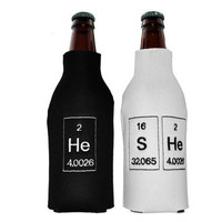 Periodic Table He and She Embroidered Neoprene Beer Bottle Coozie Set