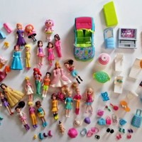 Huge Mixed Lot Polly Pocket Dolls Accessories Shoes Purses Car Unknown Dolls ETC