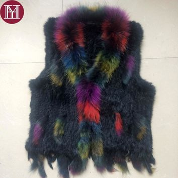 2017 New Winter fur vest women natural rabbit fur vests with colorful raccoon fur collar brand lady fashion knitted fur gilet