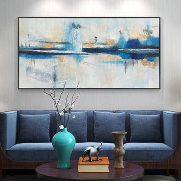 Gold leaf Original lake arcylic painting on canvas nordic extra Large navy blue Wall Art Picture  Room Decor caudros abstractos