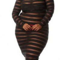 Stripes See-Through Plus Size Sexy Round Neck Long Sleeve Dress For Women