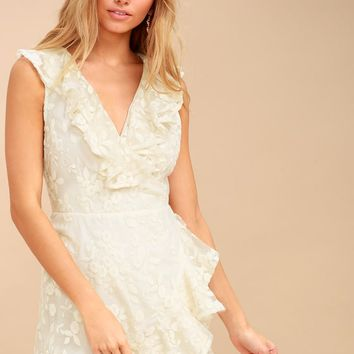 Harlow Cream Embroidered Wrap Dress