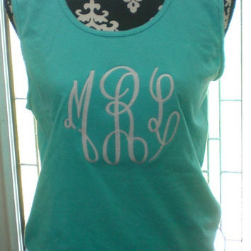 Jumbo Monogram Tank Top Comfort Colors Beach Wear Swim Suit Cover Sorority Rush Custom Embroidery