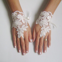 Ivory Wedding gloves french lace gloves  bridal gloves lace gloves fingerless gloves ivory gloves free ship