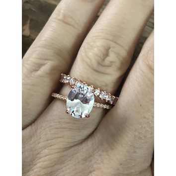 14K Rose Gold 2.6CT Oval Cut Russian Lab Diamond Bridal Set