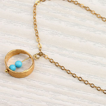 "Turquoise circle necklace, gold ring necklace, bridesmaid necklace, vermeil, everyday simple, charm jewelry,""Rhode"" Necklace"