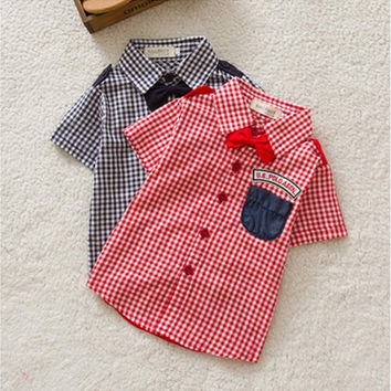 Kid Baby Boy Top Dance Party Classic Plaid Short Sleeve Shirt 1-3Y