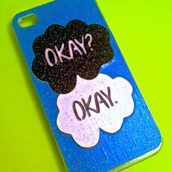 HANDMADE GLITTER The Fault in Our Stars Okay Okay iPhone 4 4s Phone Case tfios Custom cover 5c 5s Samsung htc iPad Android Book Kindle ONE
