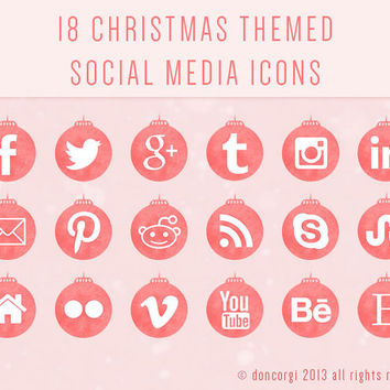 18 Christmas Ornaments Themed Social Media Icons - 3 sizes (128px, 72px, 48px) - 2 Colors- .png Files - Instant Download
