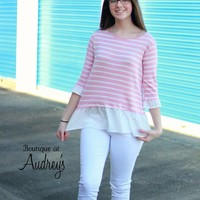 Pink Stripe Top with White Ruffle Hem