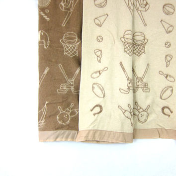 Vintage Blanket / taupe tan sports blanket with satin edge, Home Decor Bedding, Hockey, bowling, tennis and sailing