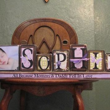 Girl's Personalized and Customized Name Word Blocks with PIcture Great for Baby Shower Gifts girls name sign personalized