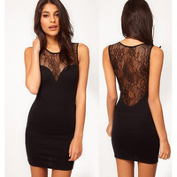 Summer Dress 2015 New Hot Sale Women Sexy See-through Black Bodycon Lace Patchwork Sleeveless Party Mini Dress