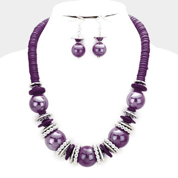 Chunky Purple & Silver Bead wood disc cluster bib necklace and earring set