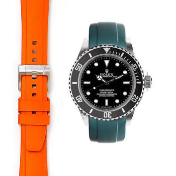 Everest Curved End Rubber with Tang Buckle for Rolex Submariner No-Date