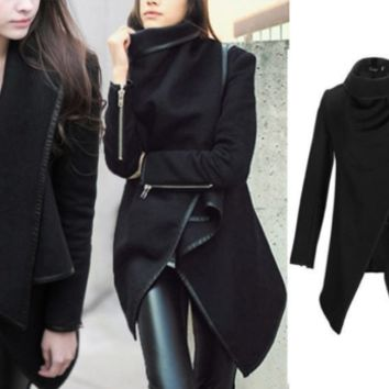 Womens Gorgeous  Chic Convertible Asymmetric Wrap Blazer Coat Jacket