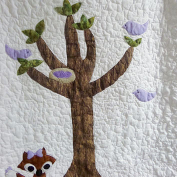 Fox quilt for woodland bedding - Homemade baby quilt