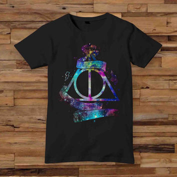 Galaxy Deathly Hallows10x12 inch white T shirt White Black Dsign t-shirt men S,M,L,XL