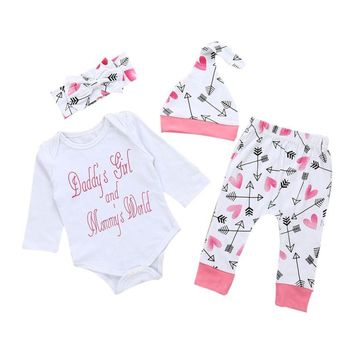 4 Pc Baby Girl Daddy's Girl and Mommy's World Shirt and Heart, Arrow Pants With Hat and Bow Headband