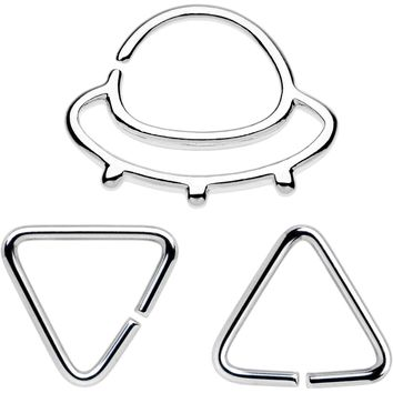 "16 Gauge 5/16"" Outer Space UFO Septum Ring Pack of 3"