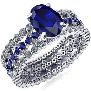 Lacy Oval Blue Sapphire Full Eternity Blue Sapphire and Diamond Accent Ring
