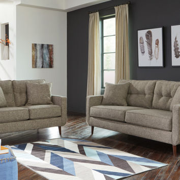 2 pc Dahra collection jute fabric upholstered sofa and love seat set with squared arms