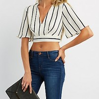 Striped Tie Back Deep V Top