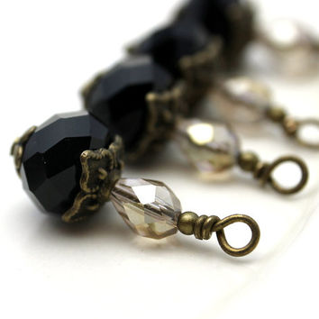 Vintage Style Brass and Black Multifaceted Round Crystal and Smokey Topaz Faceted Teardrop Crystal Bead Dangle Charm Drop Set