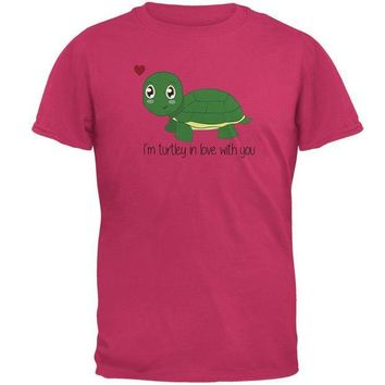 DCCKJY1 Turtle I'm Totally In Love With You Funny Pun Valentine's Day Mens T Shirt