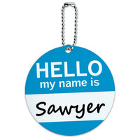 Sawyer Hello My Name Is Round ID Card Luggage Tag