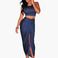 Blue Cropped Top and Wrap Maxi Skirt
