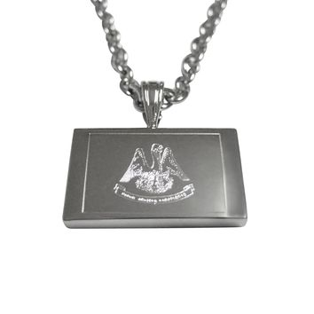 Silver Toned Etched Louisiana State Flag Pendant Necklace
