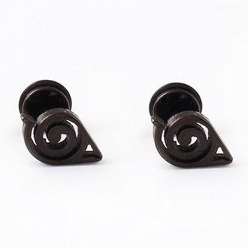 ONE PIECE Punk Style Love Heart Earring For Men - Black