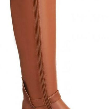 Women Winter Wedges Chunky Heel Round Toe Buckle Genuine Leather Side Zipper Fashion Knee High Boots Plus Size 34-43 SXQ01005