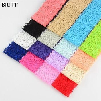 ONETOW Top Quality 24pcs/lot girl Headbands Hair Accessory Lace Flowers Wide Head Bands 1.6in Girls Headwear kids Accessories HD08