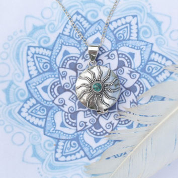 Turquoise Burst Locket Necklace in Solid Sterling