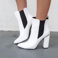 Ever Again White Chelsea Pointed Heel Boot