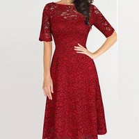 Graceful Half Sleeve Lace Pleat Knee-length Dress