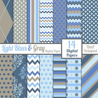 12 x 12 Light Blues Gray Digital Paper Pack Instant Download Scrapbook Craft Supplies Digital File Patterned Chevron DIY