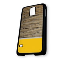 Wood Chevron Yellow Grey Samsung Galaxy S5 Case