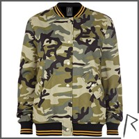 Khaki Rihanna camo sweat varsity jacket - jackets - rihanna for river island - women