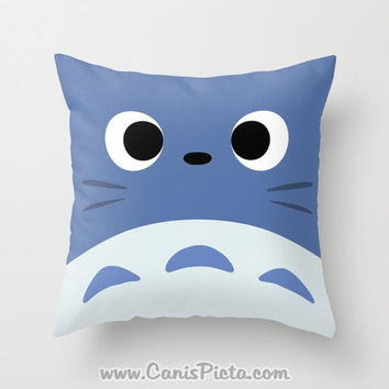 Blue Totoro Kawaii My Neighbor Throw Pillow 16x16 Graphic Print Art Cover Anime Decorative Creature Manga Troll Hayao Miyazaki Studio Ghibli
