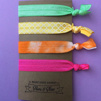 Fold Over Elastic (FOE) Hair Tie With Quote On It - Perfect For Party Favors, Stocking Stuffers, Working Out, Or Casual Use