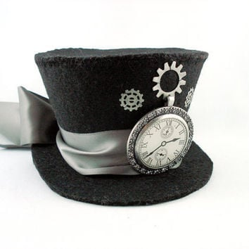 Tick Tock Silver Steampunk Clock Mini Top Hat by angelyques